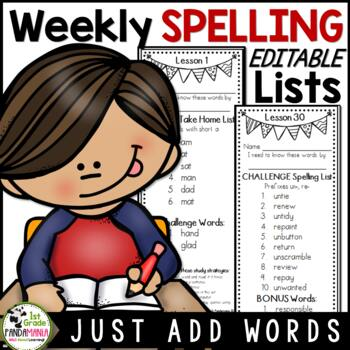 Spelling Lists Editable for Any Series Just Add Words