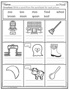 Oo Words Worksheets Phonics Activities By 1st Grade Pandamania Tpt