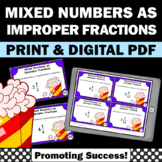 Mixed Numbers and Improper Fractions Game SCOOT 4th Grade Math Centers