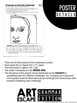 Art Escape: Mona Lisa (Grammar Edition)   Escape Room Activity