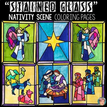 Stained Glass Nativity Scene Coloring Page | Nativity coloring ... | 350x350