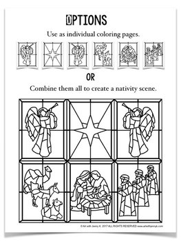 Stained Glass Christmas Nativity Scene COLORING Pages