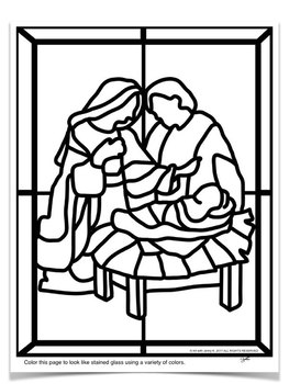 """Stained Glass"" Christmas Nativity Scene COLORING Pages"