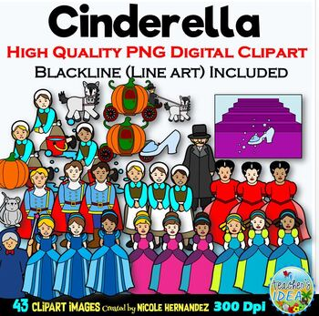 Cinderella Clip Art for Personal and Commercial Use