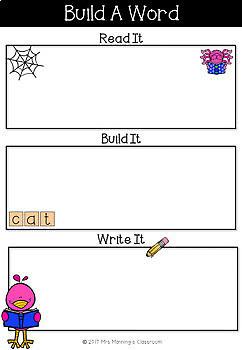 Build It, Read It, Say It, Write It Mats - Bird Theme