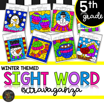 Fifth Grade Sight Word Color by Code Winter Activities
