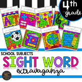 School Subjects Themed 4th Grade Sight Words Color by Code