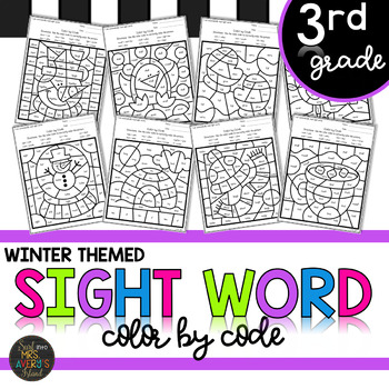 Third Grade Sight Word Color by Code Winter Activities