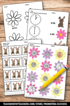 Spring Math and Literacy Packet, Kindergarten Morning Work, Easter Activities