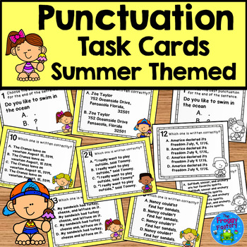 Punctuation Task Cards Summer Activity