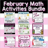 February Math Activities Bundle   Groundhog, Valentine, Pr