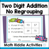 Two Digit Addition with No Regrouping Math Riddle Task Cards