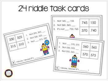 Skip Counting by Fives and Tens Math Riddle Task Cards