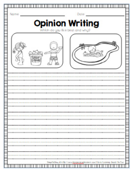 50 Opinion Writing Prompts and Papers Bundle for Primary Grades