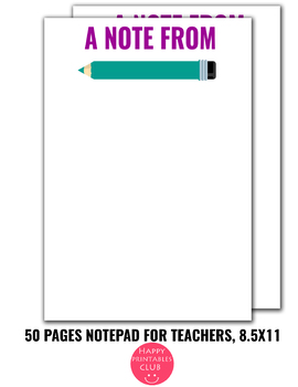 50 Pages Notepad-Teacher Notes Writing Paper-Notes Paper