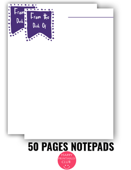 50 Pages Notepads-Notepad Sheets- Printable Notepad