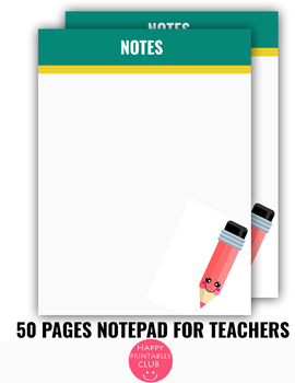image about Printable Note Papers known as 50 Webpages Notepads for Instructors- Instructor Notes Papers Printable