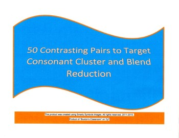 50 Pairs of Consonant Cluster/Blend Reduction - Sentence Completion