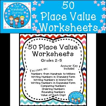 50 Place Value Worksheets for Grades 2-5