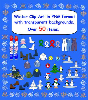 50 Plus Winter Clip Art in PNG format with Transparent backgrounds