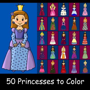 50 Princesses Coloring Pages