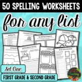50 Spelling Worksheets for Any List (Spelling Practice for 1st and 2nd Grade)