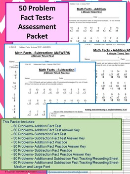 50 Problem Addition and Subtraction Fact Test Assessment Packet