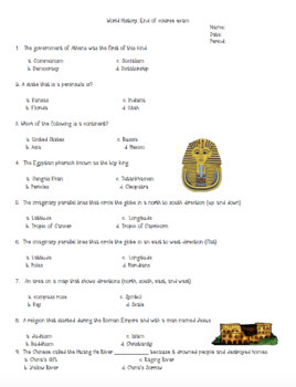 50 Question 6th Grade World History Final Exam