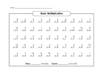 question basic multiplication worksheet  with answer key  tpt
