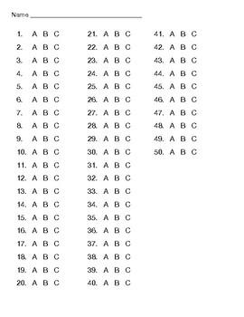 50 Question Multiple Choice A,B,C Answer Sheet