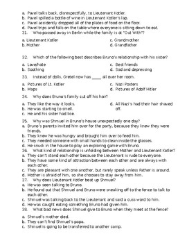 "50 Question ""The Boy in the Striped Pajamas"" Final Test w/ Answer Key"