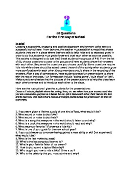 50 Questions for the First Day of School for Classroom Environment
