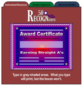 50 RECOGNizers (Award Certificates Recognizing Student Achievement)