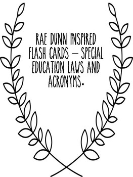 50 Rae Dunn Inspired Special education Flash Cards