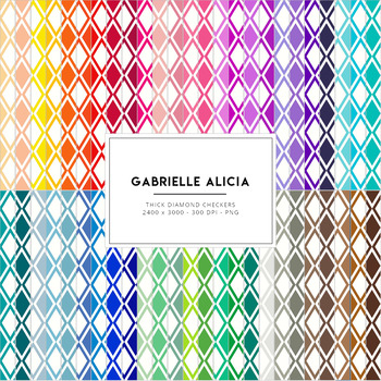 50 Rainbow Diamond Checkers Digital Papers