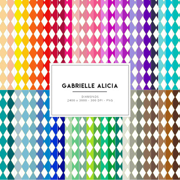50 Rainbow Diamonds Digital Papers