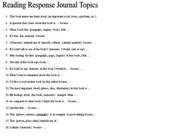 50 Reading Response Journal Ideas