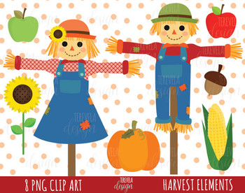 50% SALE AUTUMN clipart, harvest images, fall clipart, scarecrow, pumpking, cute
