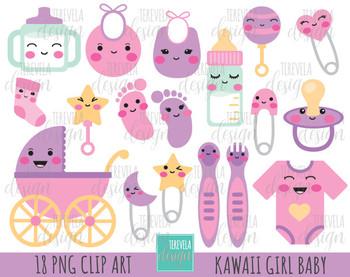 50% SALE BABY GIRL clipart,  kawaii baby, baby girl graphics, baby clip art