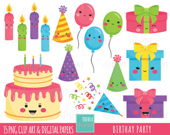 50% SALE BIRTHAY clipart, party clipart,  kawaii clipart, birthay cake