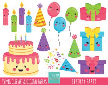 50% SALE BIRTHDAY clipart, party clipart,  kawaii clipart, birthay cake