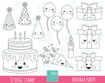 50% SALE BIRTHAY digital stamp, party digi stamp, commercial use