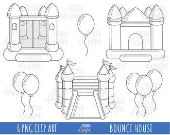 50% SALE BOUNCE HOUSE CLIPART, BOUNCE CASTLE, BALLONS, BLACK LINE