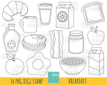 50% SALE BREAKFAST digital stamp, black and white food imges