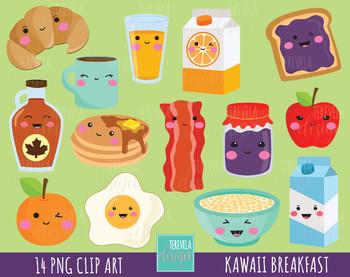 50% SALE Breakfast clipart, food clipart, breakfast graphics, kawaii food