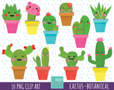 50% SALE CACTUS clipart, kawaii clipart, botanical clipart