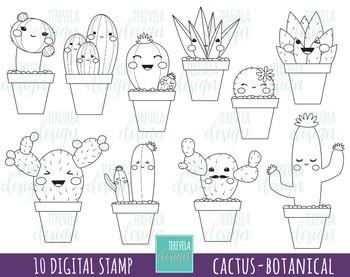 50% SALE CACTUS stamp, digi stamp, commercial use, kawaii, botanical