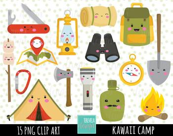 50% SALE CAMP clipart, kawaii clipart, camping digital clipart