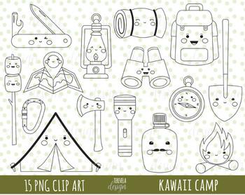 50% SALE CAMP digital stamp, digital stamp, camp clipart, kawaii camp clipart