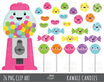 50% SALE CANDY clipart, bubble gum clipart, kawaii candies clipart, PINK